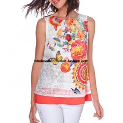 T-shirt top summer floral ethnic 101 idées 1653Y french clothing wholesale