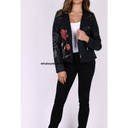 jacket Faux leather perfecto print ethnic jackets for women | Coats